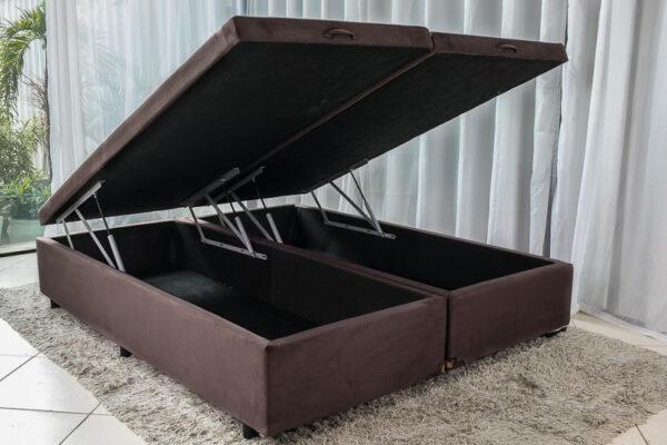 Box baú Queen Bipartido Sued Marrom 158X198
