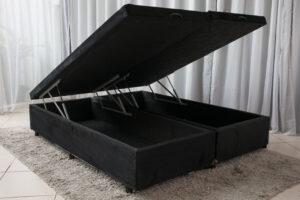 Box baú Queen Bipartido Sued Preto 158X198