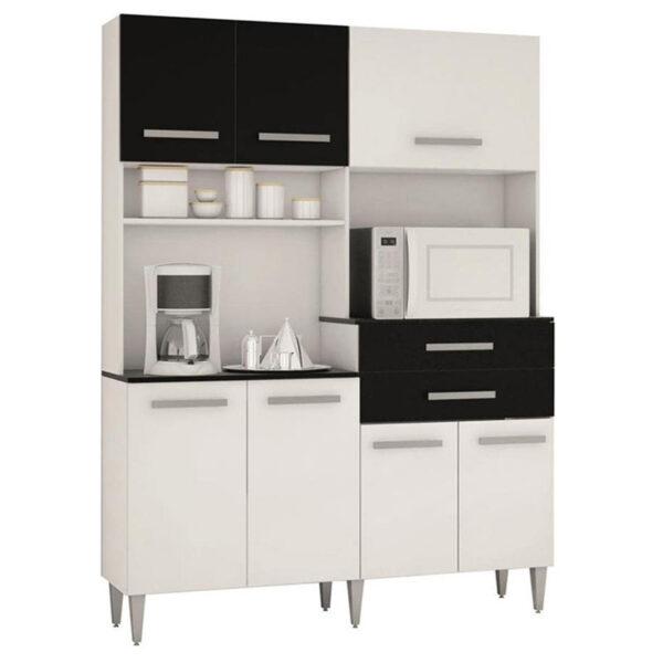 Cozinha Flavia 7 Portas 2 Gavetas Branco-Preto