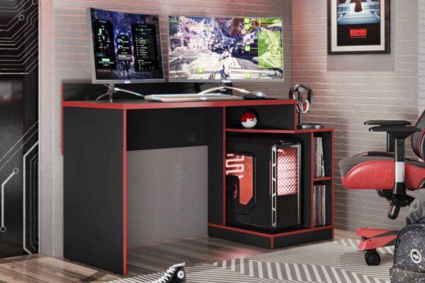 Mesa Gamer Play Preto-Vermelho