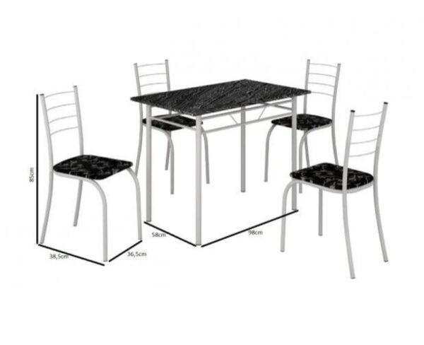 Mesa Rio +Base Virginia 100x60 4 Cadeiras Branco