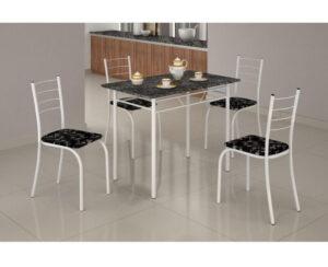 Mesa Rio +Base Virginia 100x60 4 Cadeiras Branco Teixeira