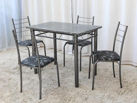 Mesa Rio +Base Virginia 100x60 4 Cadeiras Martelado Teixeira