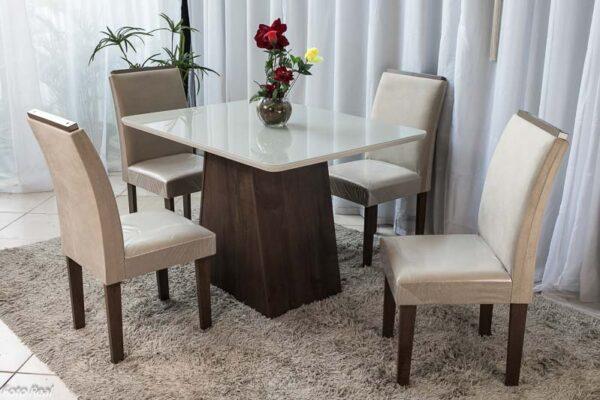 Mesa Servilha 120×90 Chocolate Vidro off 4 Cadeiras Sued Bege
