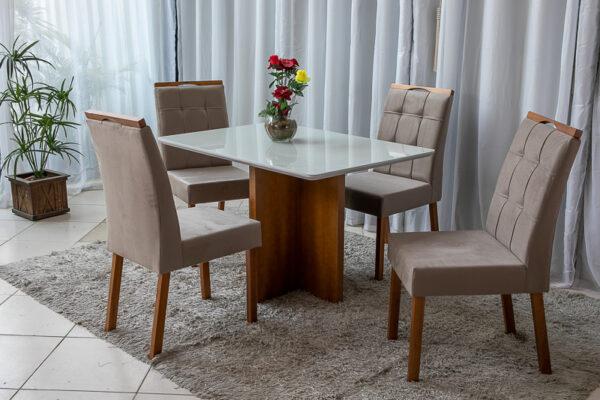 Mesa de Jantar Camile Mel Vidro Off 4 Cadeiras Bia Marrom 104