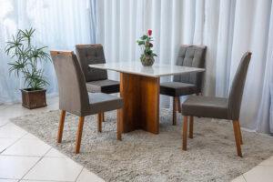 Mesa de Jantar Camile Mel Vidro Off 4 Cadeiras Madeira Bia Marrom 05