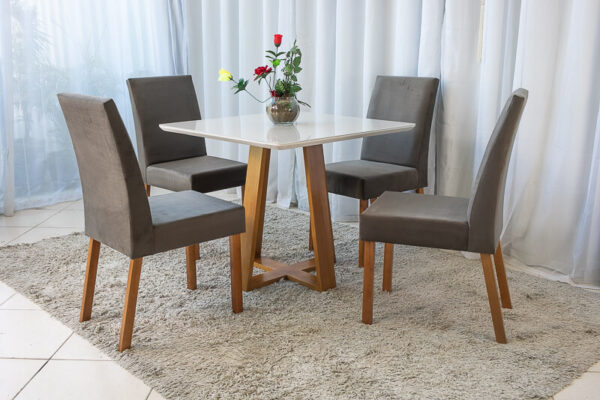 Mesa de Jantar Madeira Vitra Mel Tampo MDF 90×90 Vidro Off 4 Cadeiras Madeira Sued Marrom 05