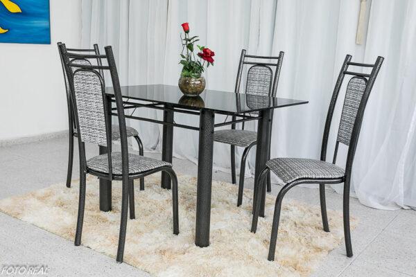 Mesa de Jantar Paris 4 Cadeiras Martelado e Tampo de pedra 120x75