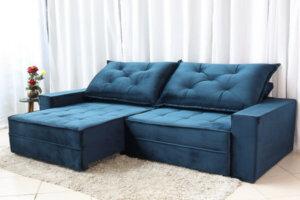 Sofá Retrátil Reclinável Berlim 2.90m Molas Ensacadas Azul 800