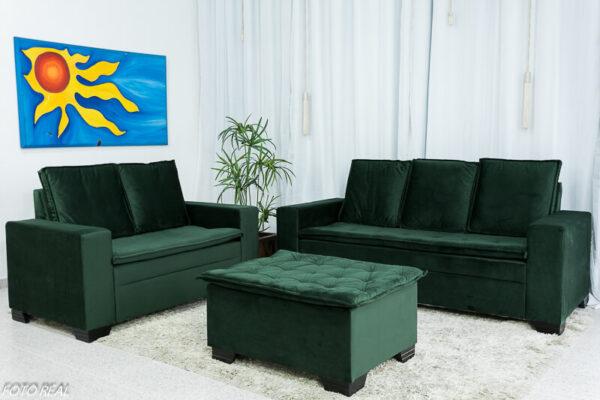 Sofá 3 e 2 lugares com Puff França Veludo Verde