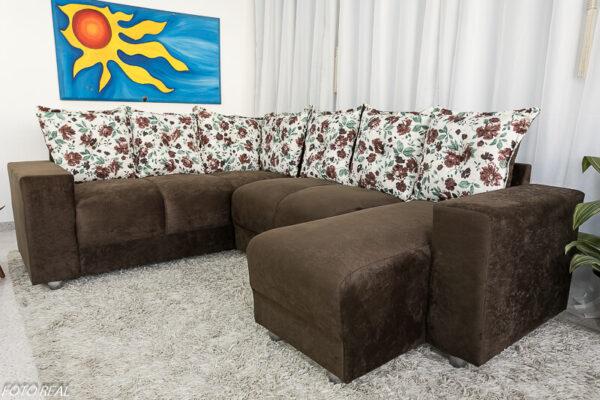 Sofá Canto com chaise 5070 Marrom 304 -114