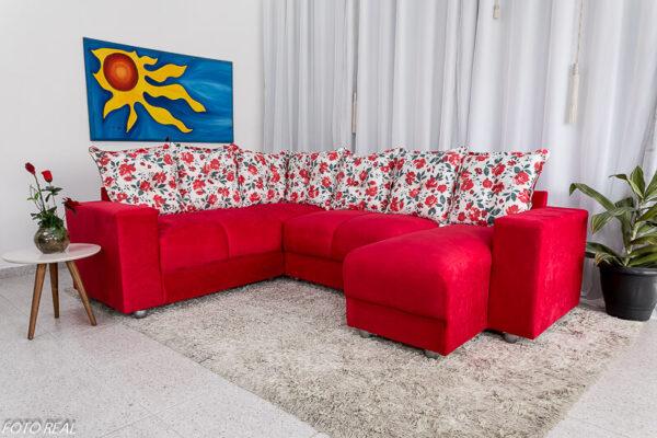Sofá Canto com chaise 5070 Vermelho 309-112