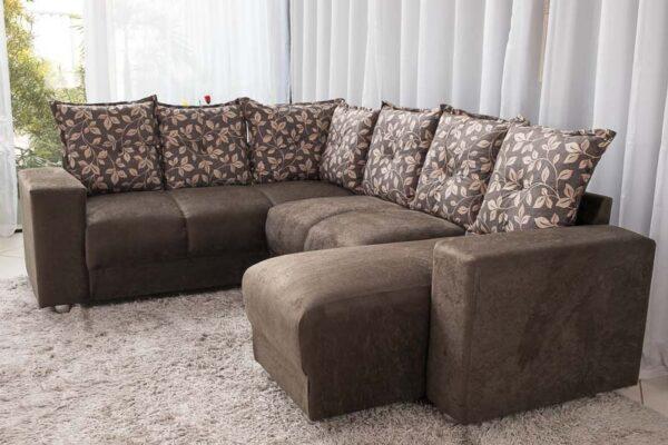 Sofá Canto com chaise 7 lugares 5070 Marrom 303 -102