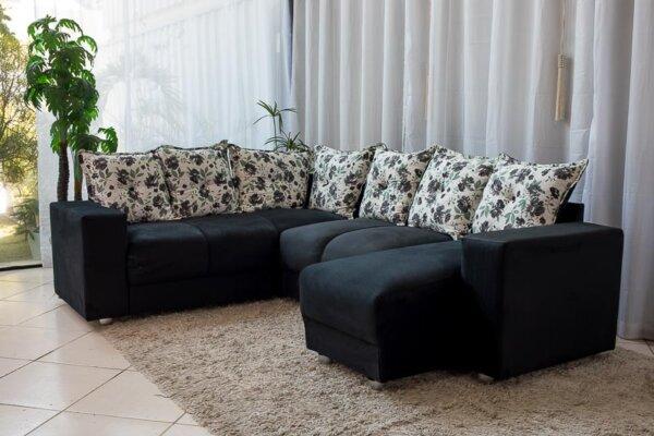 Sofá Canto com chaise 7 lugares 5070 Preto 308-114