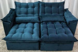 Sofá Retrátil Reclinável 2.30m Ipanema Veludo Azul 537