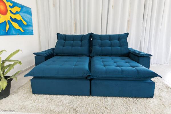 Sofá Retrátil Reclinável Atenas 2.50m Veludo Azul 800